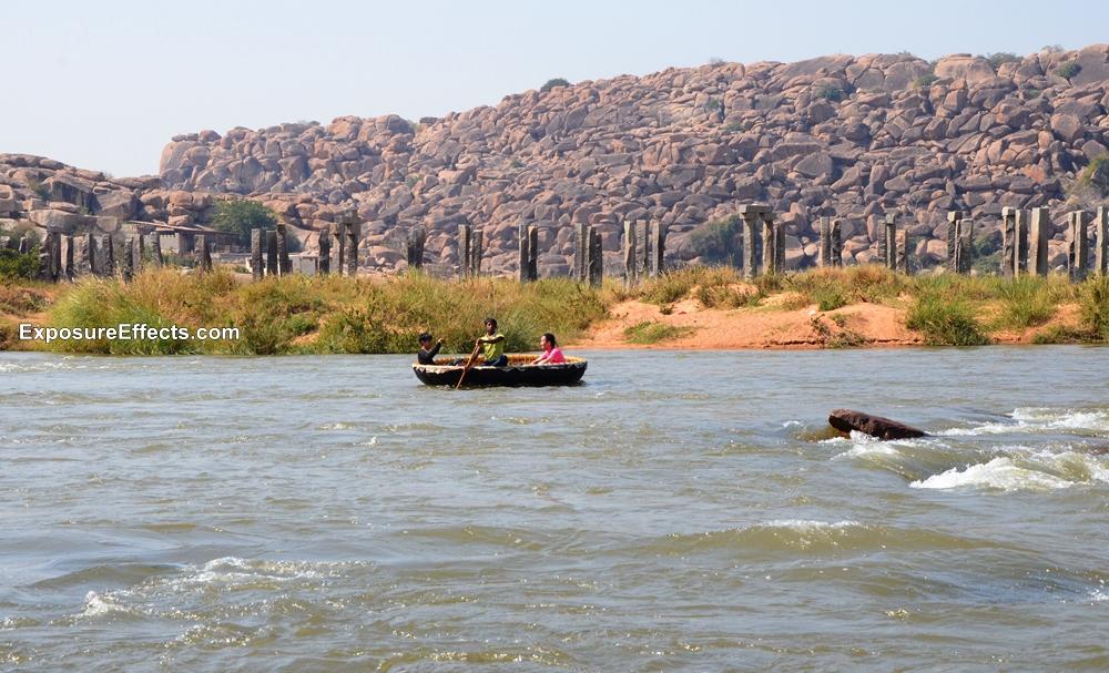 Coracle boat ride in Pampa Sarovar Hampi