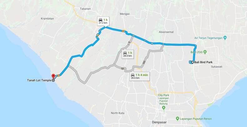 Bali Map Bird Park Tanah Lot