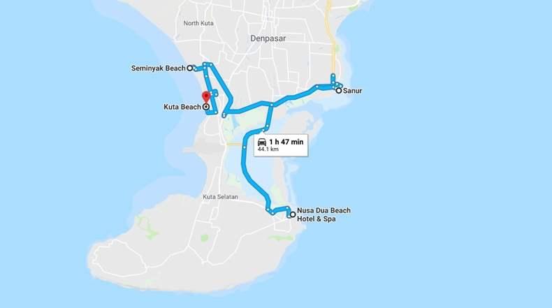 Bali Map South Bali Beaches