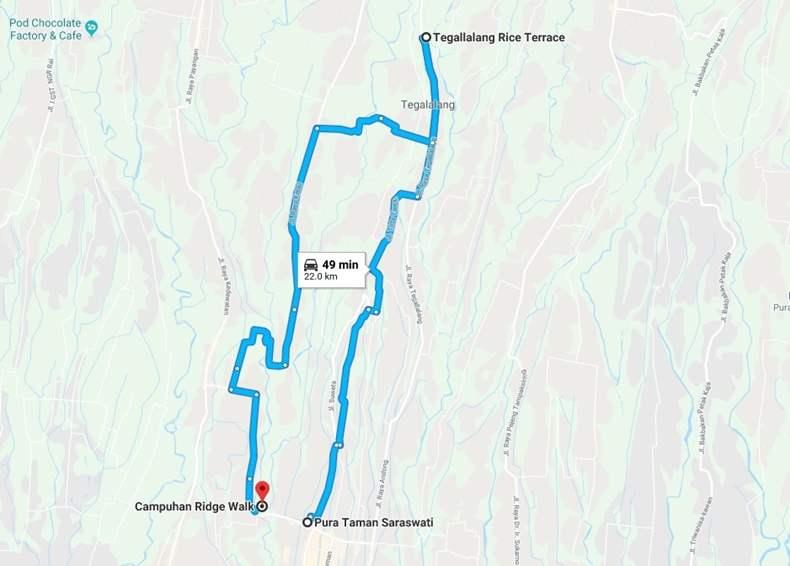 Bali Map ubud Campuhan ridge walk